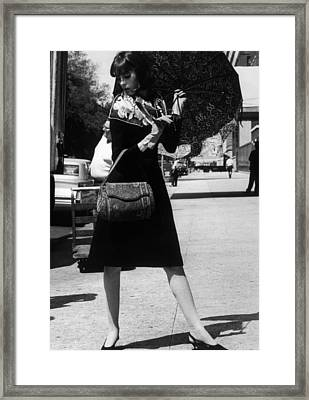 Model Wearing A Scarf By Sally Gee, Bag Framed Print by Everett