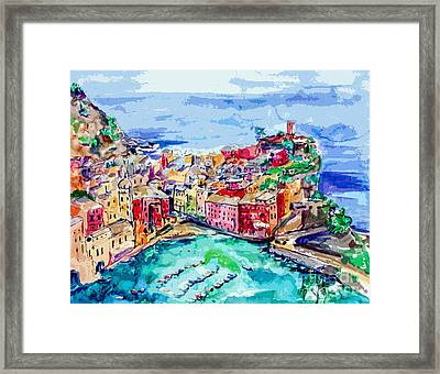 Modern Abstract Vernazza Italy Cinque Terre Framed Print