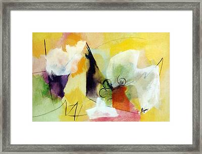 Modern Art With Yellow Black Red And Fanciful Clouds Framed Print