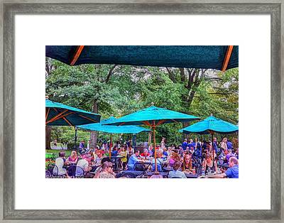 Modern Boating Party Crowd At Central Park In New York City Framed Print
