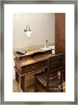 Modern Phone On An Old Fashioned Desk Framed Print by Jaak Nilson