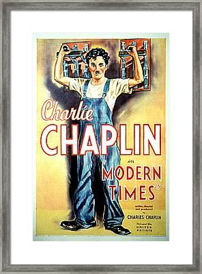 Modern Times, Charlie Chaplin, 1936 Framed Print