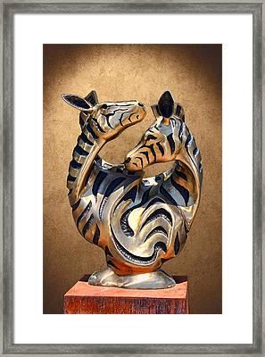 Modern Zebra Sculpture Framed Print by Linda Phelps
