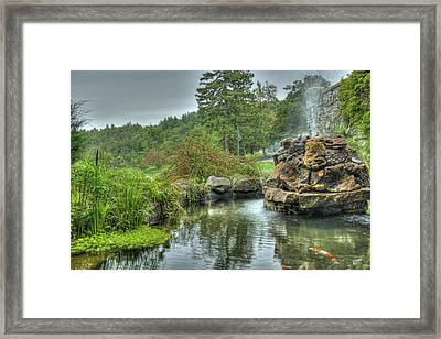 Mohonk Koi Pond On A Rainy Day Framed Print by Donna Lee Blais