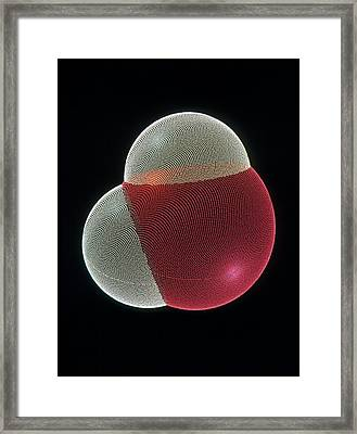 Molecular Graphic Of A Molecule Of Water Framed Print