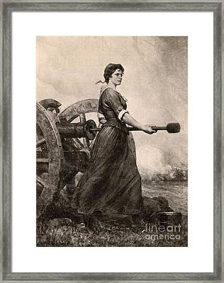 Molly Pitcher At The Battle Framed Print by Photo Researchers