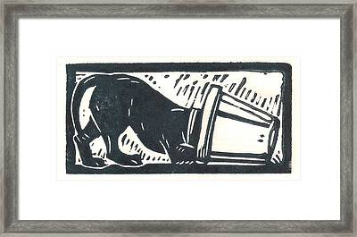 Molly Vs. Bucket Framed Print by Jennifer Harper