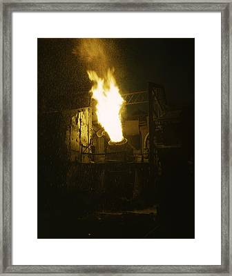Molten Iron Is Blown In An Eastern Framed Print
