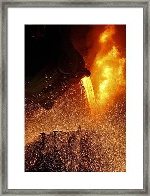 Molten Metal Being Poured From A Vat Framed Print by Ria Novosti