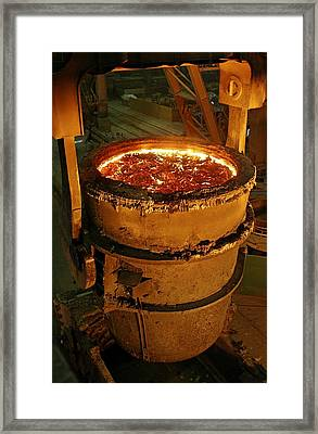 Molten Metal In A Vat Framed Print by Ria Novosti
