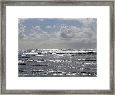 Molten Silver Sea Framed Print by Will Borden