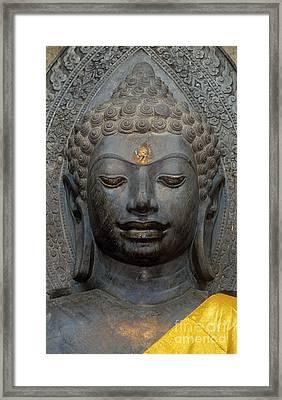 Mon Stone Buddha Head - Thailand Framed Print by Craig Lovell