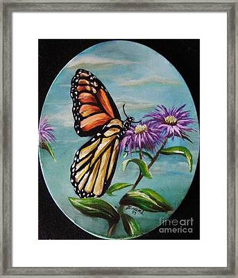 Framed Print featuring the painting Monarch And Aster by Karen  Ferrand Carroll