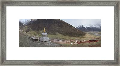 Monastery Buildings In Mountain Valley Framed Print by Phil Borges