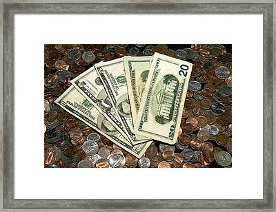 Money Full House Framed Print by Trudy Wilkerson