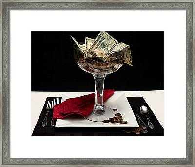 Money Is Served Framed Print by Trudy Wilkerson