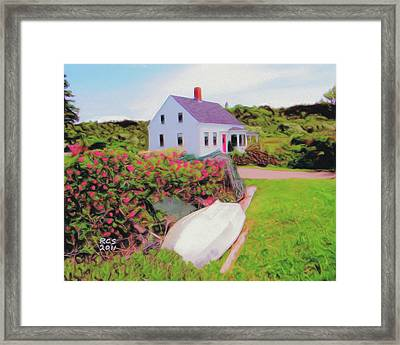 Monhegan Cottage Framed Print by Richard Stevens