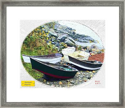 Monhegan Dinghies Framed Print by Richard Stevens