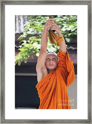Framed Print featuring the photograph Monk In The Bell Tower #2 by Nola Lee Kelsey