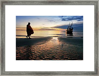 Monk Walk For Food On The Beach Framed Print by Arthit Somsakul