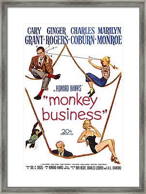 Monkey Business, Cary Grant, Ginger Framed Print by Everett