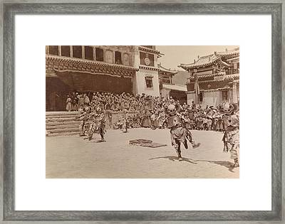 Monks Dressed As Departed Spirits Framed Print by Dr Joseph F Rock