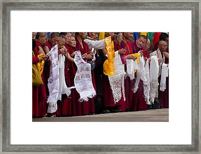 Framed Print featuring the photograph Monks Wait For The Dalai Lama by Don Schwartz
