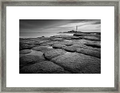 Mono Shot Of Northumbrian Lighthouse Framed Print by Billy Currie Photography