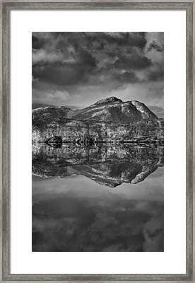Monochrome Mountain Reflection Framed Print