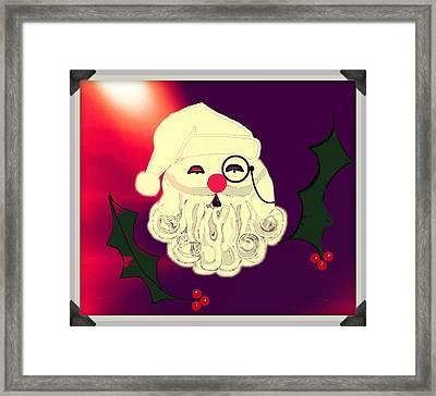 Monocle Santa Framed Print by Jan Steadman-Jackson