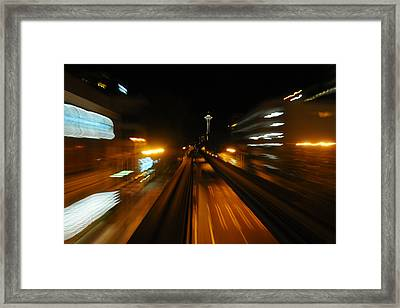 Monorail By Night Framed Print by George Crawford