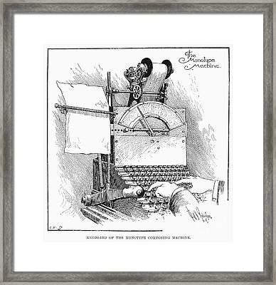 Monotype Machine, 1897 Framed Print by Granger