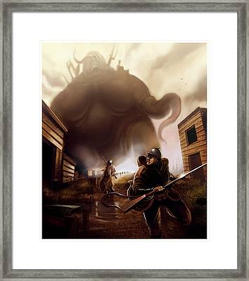 Framed Print featuring the digital art Monster Attack by Michael Myers