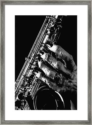 Monster Hand Saxophone Framed Print by M K  Miller