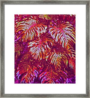 Framed Print featuring the digital art Monstera Leaves - Purple And Gold - Digital Artwork by Kerri Ligatich