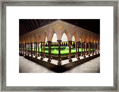 Mont Saint Michel Cloister Garden Framed Print by Elena Elisseeva