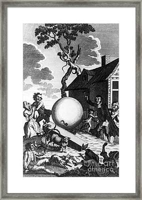 Montgolfier Balloon A�rostat R�veillon Framed Print by Photo Researchers
