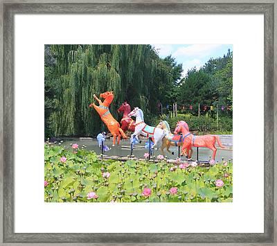Montreal Botanical Gardens - Chinese Horses Framed Print