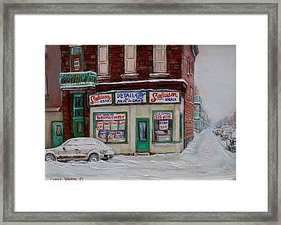 Montreal Corner Market Winter Scene Framed Print by Carole Spandau
