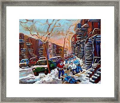 Montreal Hockey Paintings Framed Print by Carole Spandau