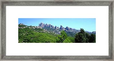 Montserrat Mountain Range Panoramic View Near Barcelona Spain Framed Print