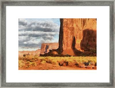 Monument Valley Hogans Framed Print by Mary Warner
