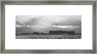 Monument Valley In Snow Panorama Framed Print