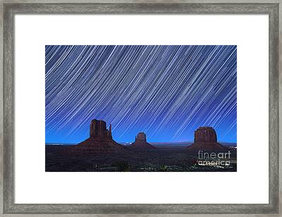 Monument Valley Star Trails 1 Framed Print by Jane Rix