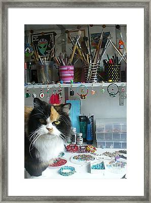 Moo Shu Cat On My Desk Framed Print by Kristi L Randall
