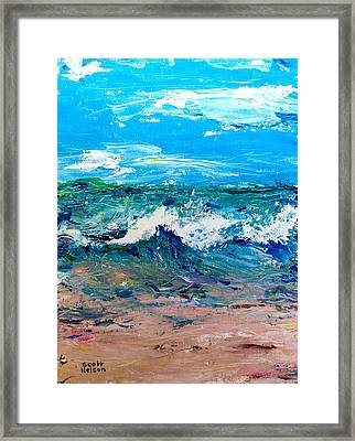 Moody Beach In A Mood Framed Print