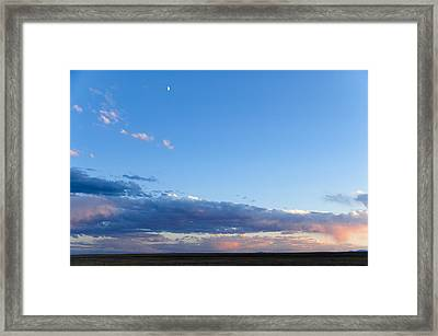 Framed Print featuring the photograph Moon Above The Horizon by Monte Stevens