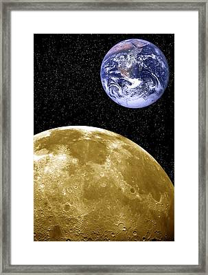 Moon And Earth, Artwork Framed Print