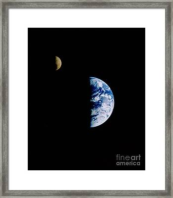 Moon And Earth Framed Print