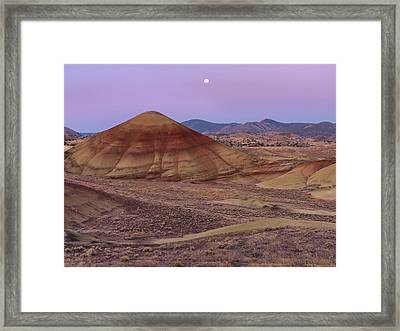 Moon And Painted Hills Framed Print by Leland D Howard